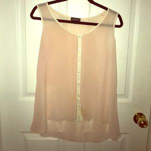 Sheer dusty pink sleeveless blouse